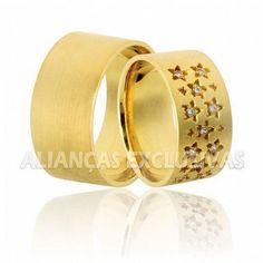 Aliança de Noivado e Casamento em ouro 18k 0,750
