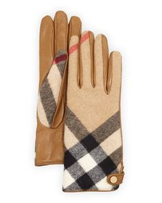 Charlotte Check Cashmere & Leather Gloves, Camel by Burberry