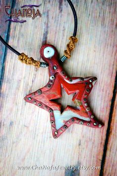 Autumn Leaf Red Jasper Star Pendant-SALE terracotta polymer clay rustic jewelry unisex mens earth spirit gemstone gift idea glow in the dark by ChaNoJaJewelry on Etsy