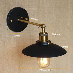 Wholesale cheap vintage iron metal black wall lamp online, brand - Find best vintage iron metal black wall lamp creative corridor garden hallway…