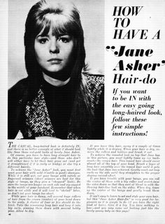 """How To Have A """"Jane Asher"""" Hair-Do16 Magazine, 1964 October"""