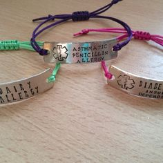 Some of the new medical bracelets.