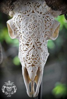 Hand Carved Ram Skull with Natural Finish and Flower FiligreeFind this Skull on Etsy Deer Skull Art, Deer Skull Tattoos, Cow Skull Decor, Sheep Skull, Ram Skull, Deer Skulls, Animal Skulls, Carved Skulls, Hand Carved