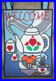 HAPPY FATHERS DAY GARDEN FLAG by SUNSHINE DESIGNS plastic canvas