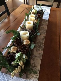 last minute rustic christmas decorations to make more perfect your home 31 Christmas Wedding Centerpieces, Christmas Candle Decorations, Christmas Candle Holders, Christmas Table Settings, Candle Centerpieces, Christmas Candles, Rustic Christmas, Christmas Home, Christmas Wine Bottles