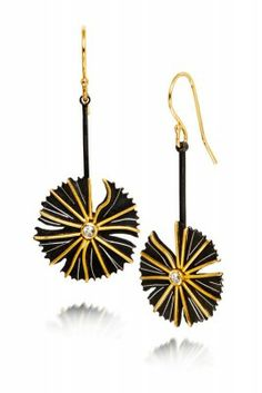 Dandelion Earrings by Patricia Tschetter incorporate oxidized silver and 22k gold with rose cut diamonds.