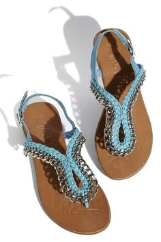 Light-blue sandals with rhinestones