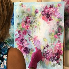 Acrylic Painting Flowers, Acrylic Pouring Art, Abstract Flowers, Abstract Canvas Art, Diy Canvas Art, Abstract Painting Techniques, Modern Art Paintings, Wow Art, Flower Art