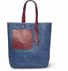 Bill Amberg - Leather Tote Bag (Blue/Red)