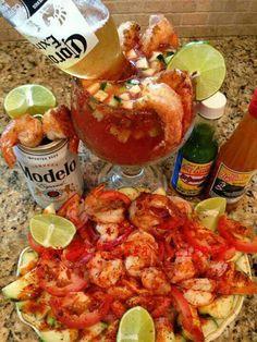 Camarones con chile y una michelada con Cerveza Modelo!! Camarones del Pacífico! #EstoEsMexico