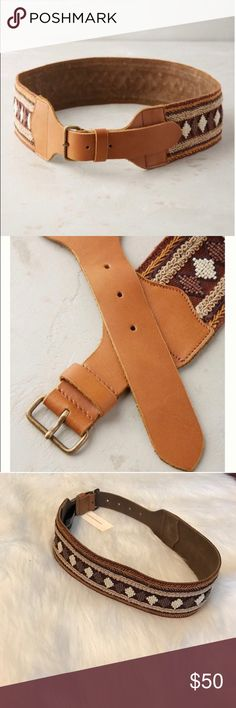 ANTHROPOLOGIE SAGADA LEATHER BELT Beautiful boho-chick genuine buffalo leather with beautiful cotton woven fabric detailing. Face: 100% cotton woven fabric/ back: 100% genuine leather/ Size:S/ 02217597 Anthropologie Accessories Belts