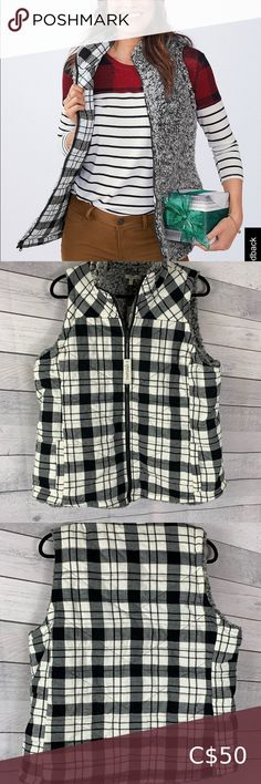 Maurices Reversible Plaid Sherpa Vest Soft and cosy fabric.  2 functional front pockets Zipper closer Puffer style with fill  Slightly fitted  Shell: 100% Cotton - Lining and filling 100% Polyester  Machine wash Maurices Jackets & Coats Vests Beige Vests, Grey Vest, Black Vest, Camo Vest, Women's Puffer, Distressed Jean Jacket, Fleece Vest, Cosy, Fill