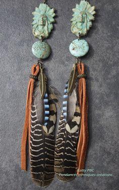 "Boucles d'oreilles indien ""Ahiga"" - Indien, plumes, turquoise"