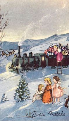 Buone Natale (vintage train & angels)