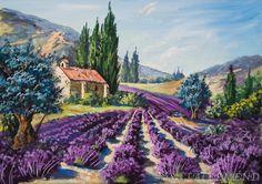 champs de lavande en Provence Landscape Walls, Watercolor Landscape, Landscape Paintings, Watercolor Paintings, Composition Photo, Tuscan Art, Pastel Art, Pictures To Paint, Beautiful Paintings