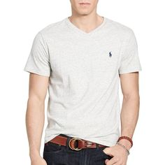 Polo Ralph Lauren Relaxed-Fit V-Neck T-Shirt ($45) ❤ liked on Polyvore featuring men's fashion, men's clothing, men's shirts, men's t-shirts, lawrence grey, mens v neck shirts, men's v neck t shirts, mens embroidered shirts and mens vneck shirts