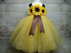 Yellow brown sunflower tutu dress & headband ready by floralfolly