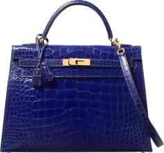 Hermes 32cm Shiny Blue Saphir Alligator Sellier Kelly Bag with GoldHardware. E Square, 2001. Very Good to Excellent C...