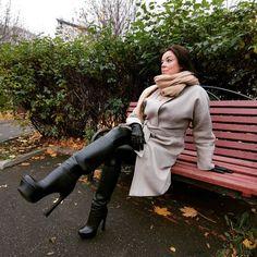 Instagram post by Юлия Николаевна • Nov 4, 2020 at 12:38pm UTC High Heel Boots, Heeled Boots, High Heels, Sexy Boots, Latex, Cosplay, Legs, Coat, Instagram Posts