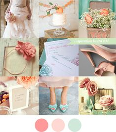 Coral, Peach, and Aqua wedding scheme.    Would look really nice in a country wedding with peonies.
