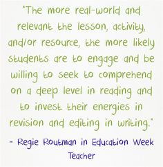 'Read, Write, Lead': An Interview With Regie Routman is the headline of my latest column over at Education Week Teacher. Here are a couple of excerpts: