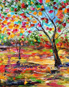 Original oil painting on canvas spring Landscape palette knife impastomodern texture fine art impressionism by Karen Tarlton