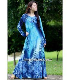 Maxi Dress Long Sleeves Blue Leopard Print Dress Casual Dress Dress Summer Sundress Beach