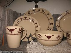Western Dinnerware 16 Piece Branded Design Cowboy Cowgirl Dishes Kitchen Decor | eBay