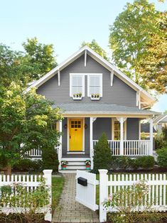 Image result for gray house with yellow door