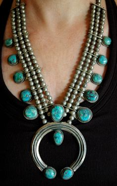Amazing Old Turquoise Squash Blossom Necklace