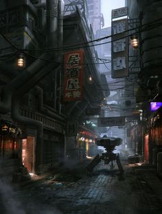 It is yet another dystopian society based on busy Asian cities like Tokyo and Hong Kong. The protagonist makes his way past the evil sentinel.
