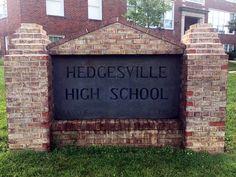 Hedgesville, West Virginia, Berkeley County, West Virginia, Hedgesville High School Sign. West Virginia