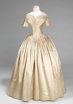 Wedding dress | American | 1840-42 | silk | Brooklyn Museum Costume Collection at The Metropolitan Museum of Art | Accession Number: 2009.300.668