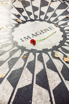 "NYC's Central Park in the Fall. (The John Lennon memorial mosaic, ""Strawberry Fields""), by Ann Street Studio"