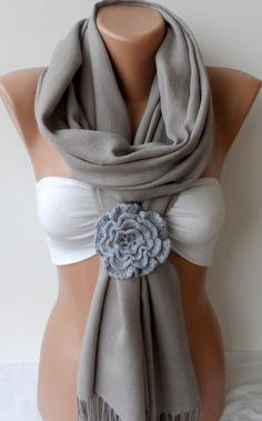 Gray Pashmina shawl with crocheted rose - Shawls / Women Scarf - Cowl Scarf - Winter fashion - Valentines day gifts scarf, pashmina scarf. $25.90, via Etsy.