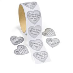 100 Wedding Stickers  Party Favors Thank you note invitations decorations SILVER