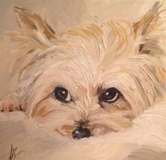 "Daily Paintworks - ""Golden Yorkie"" by Annette Balesteri"