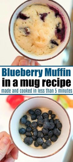 This blueberry muffin in a mug recipe is so good and a great way to make breakfa. This blueberry muffin in a mug recipe is so good and a great way to make breakfast in the microwave in one minute for one person. You don't have to share! Breakfast In A Mug, Microwave Breakfast, How To Make Breakfast, Breakfast Recipes, Breakfast Dessert, Good Breakfast For Diabetics, Microwave Muffin, Microwave Brownie, Microwave Food