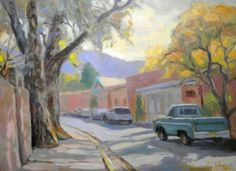 Santa Fe, New Mexico. Historic Canyon Road. Painted on location at the Canyon Road Paint Out, in October 2014. By Chuck Rak. On Etsy.