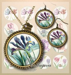 Aquarelle - Garden of tulips Digital Collage Sheet, 20, 18, 16, 14, 12 mm circles, printable images for earings, rings, iris, by collageva