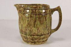 Morton Pottery Spatterware Sponged Spongeware Barrel Keg Pitcher Grn B - RoofTop Antiques