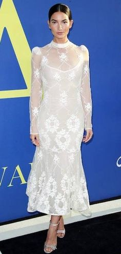 bd45ffc2d5 Lily Aldridge in Brock Collection attends the CFDA Fashion Awards in NYC.