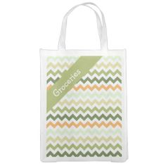 Citrus Tones Chevron Reusable Grocery Bags  ..............This design features a Citrus Tones Chevron pattern. The TEXT on both sides can be customized with your own. Check out my store for more colors.