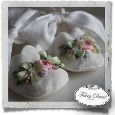 Felt Baby Booties with Silk Ribbon Embroidery--I just love these but no babies to make them for. I think I need to make a couple pairs and just have them ready for the next baby shower I go to. Silk Ribbon Embroidery, Hand Embroidery, Embroidery Designs, Embroidery Books, Embroidery Supplies, Sewing Crafts, Sewing Projects, Art Du Fil, Ribbon Art