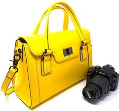Camera Bags for Women, Multi-Functional Leather Top-Handle Ladies Handbags and Purses with Removable Padded Case Bags Online Shopping, Online Bags, Shopping Bag, Dslr Camera Bag, Camera Case, Cheap Handbags, Purses And Handbags, Yellow Handbag, New Bag