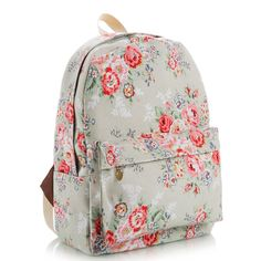 Floral Printed Gray Canvas Backpack 0627012