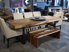 Suar wood dining table with metal legs