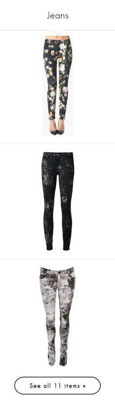 """Jeans"" by samtiritilli ❤ liked on Polyvore featuring 7 for all mankind, jeans, pants, bottoms, pants + shorts, multicolour, zip jeans, floral jeans, floral print jeans and multi colored jeans"