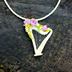 Harp silver pendant, perfect gift for her