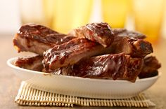 Find simple and easy recipes from Kraft Canada including family favourites such as chicken recipes, delicious appetizers and irresistible desserts. Kraft Recipes, Rib Recipes, Cooking Recipes, Recipies, Cooking Over Fire, Cooking Wine, Spareribs Recipe, Ribs On Grill, Bbq Ribs